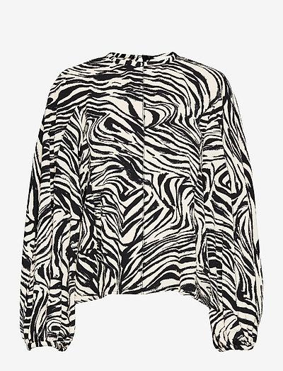 Dianne, 1092 Structure Stretch - långärmade blusar - zebra black