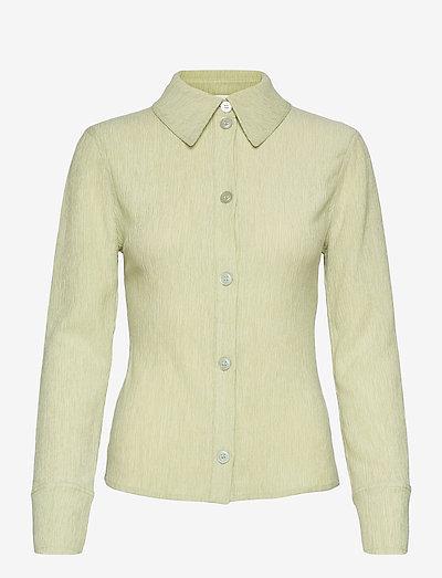 Wes, 1143 Crinkled Tencel - långärmade skjortor - sage