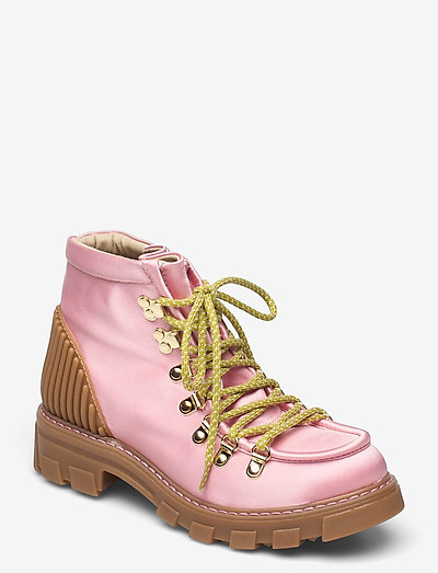 Vera, 1154 Satin Boots - platta ankelboots - pink