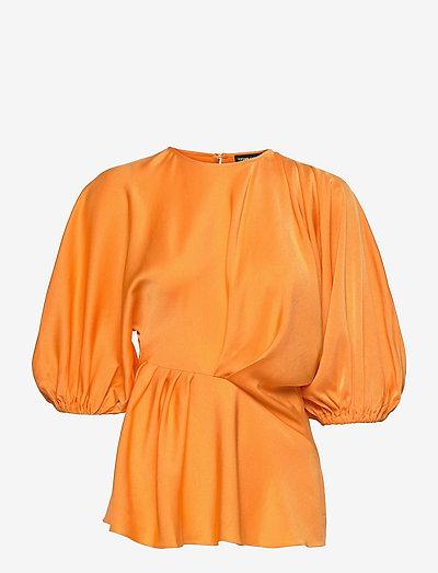 Cora, 1168 Solid Cady - langærmede bluser - orange