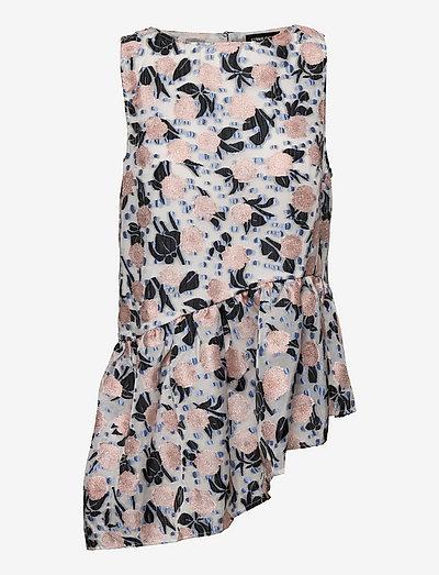 Shelbi, 1165 Floral Organza - sleeveless blouses - pezonia