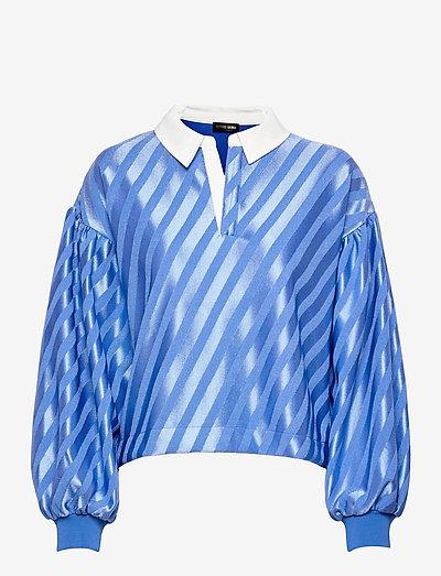Yousef, 1160 Stripe Jersey - long sleeved blouses - stripes blue