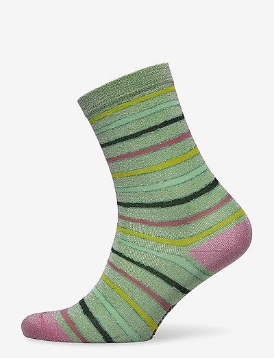 Caty, 1203 Socks - sokker - stripes green lurex