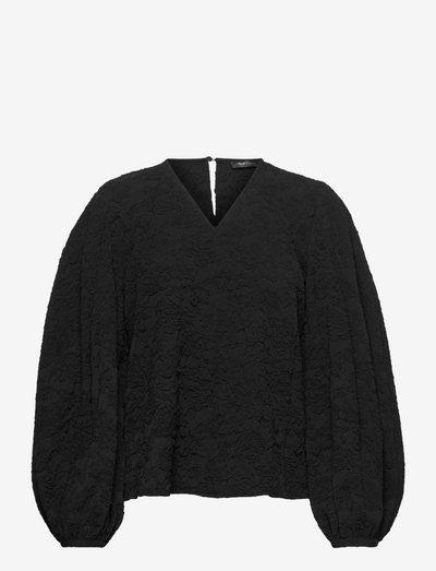 Ida, 1230 Solid Stretch - langermede bluser - black