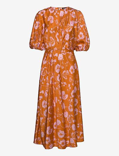 Aubrie, 1232 Viscose Satin - summer dresses - euphoria orange