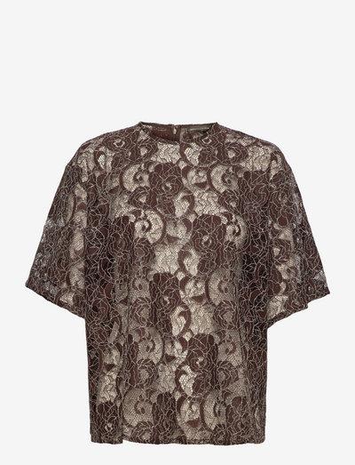 Katalindi, 1248 Chunky Lace - short-sleeved blouses - brown