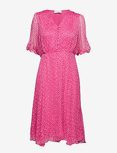 Cecilia Long Dress - A.O.P. - FUCHSIA DOT