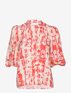 Ivy Puff Blouse - långärmade blusar - reptile batik