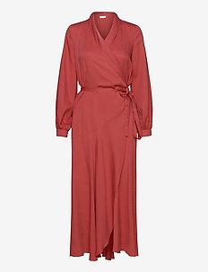 Olivia Wrap Dress - slå-om-kjoler - burnt sienna