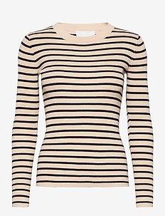 Nap Blouse - stickade toppar & t-shirts - single stripe - sand & navy