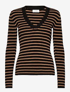 Nap V-neck - strikkede toppe & t-shirts - single stripe - black & camel