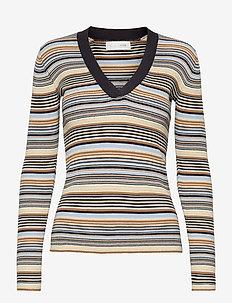 Nap V-neck - strikkede toppe & t-shirts - multi stripe