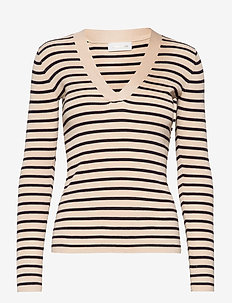 Nap V-neck - långärmade blusar - single stripe - sand & navy