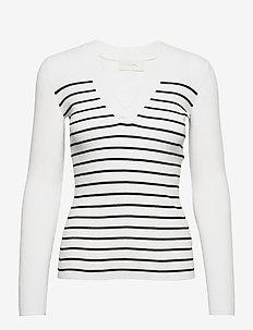 Nap V-neck - jumpers - white w. black stripes