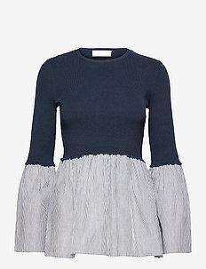 Nika Blouse - long sleeved blouses - navy