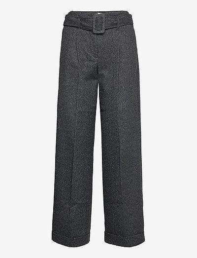 Ida Pants - bukser med brede ben - black melange