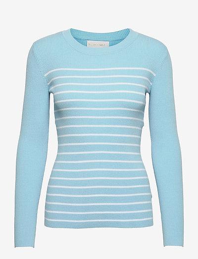Nap Blouse - trøjer - light blue w. white stripes