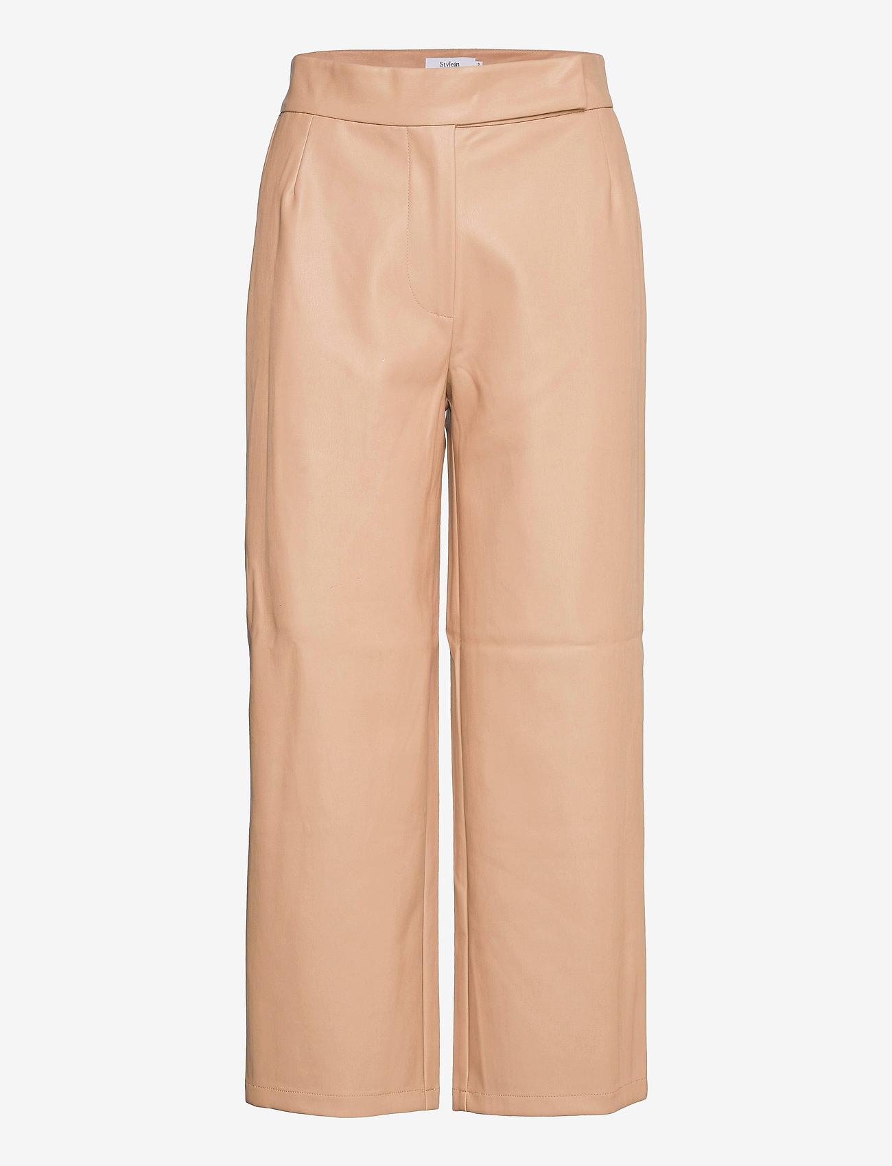 Stylein - VIVIEN TROUSERS - læderbukser - beige - 1