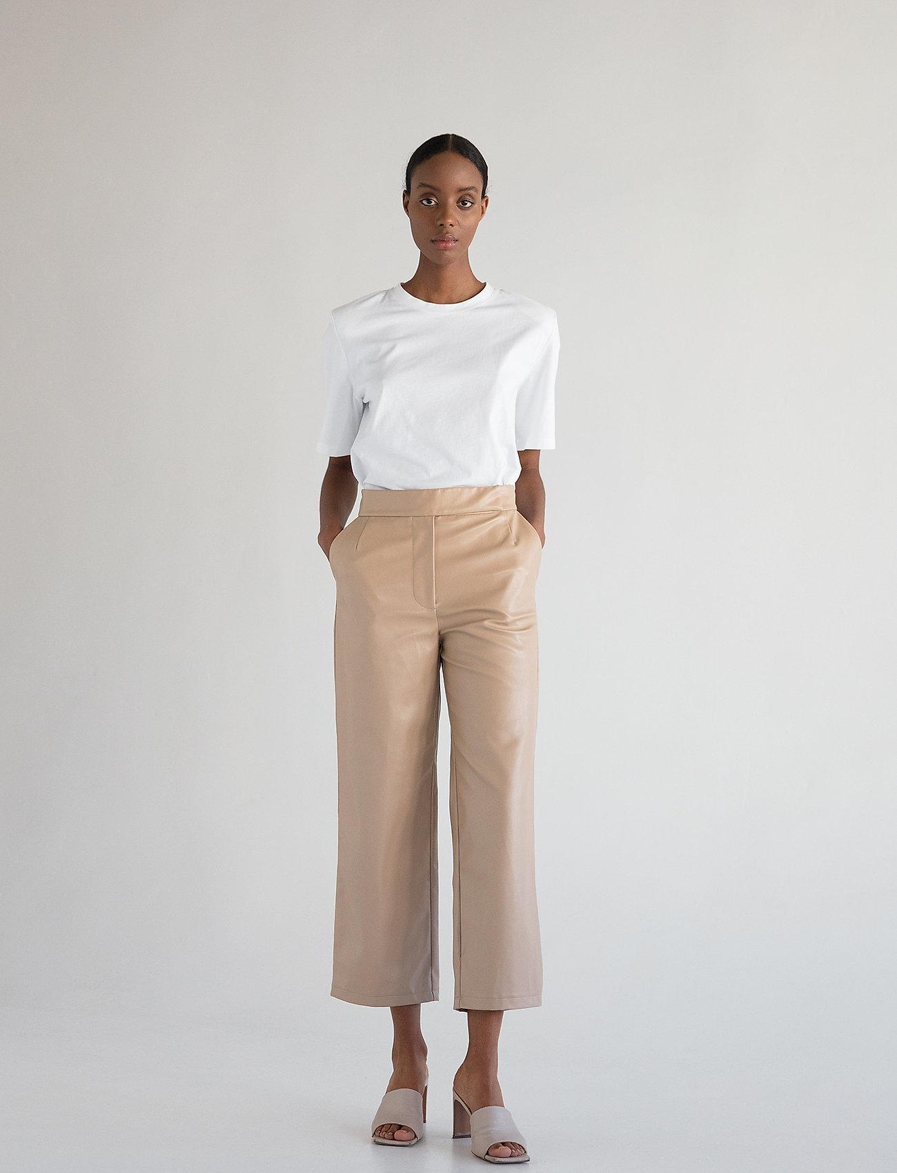 Stylein - VIVIEN TROUSERS - læderbukser - beige - 0