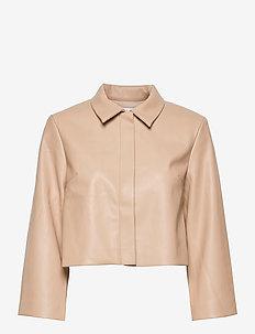 VEREL JACKET - leather jackets - beige
