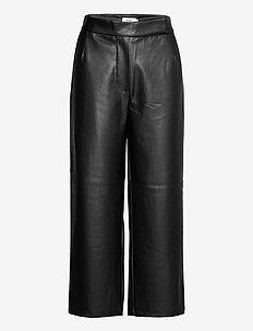 VIVIEN TROUSERS - læderbukser - black