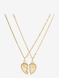 BFF heart necklace - halskæder med vedhæng - gold/pink