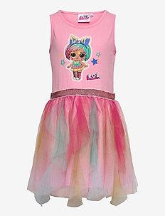 DRESS S/M RUFFLED SKIRT MULTI CO - kleider - pink