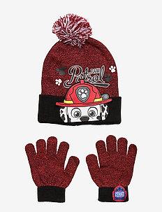 SET 2 PCS HATS & GLOVES - RED