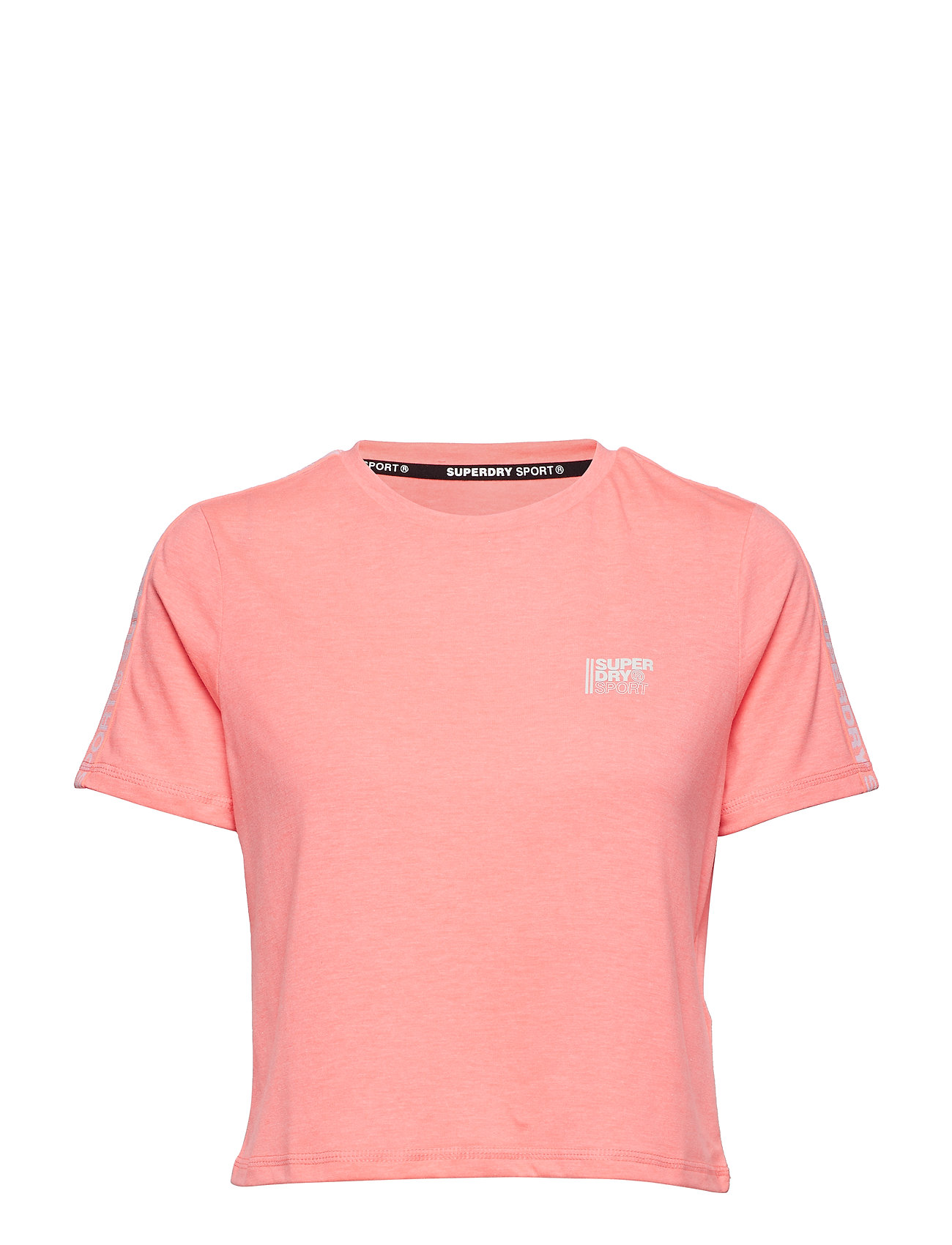 Superdry Sport CORE CROP BRANDED TEE - PARADISE CORAL