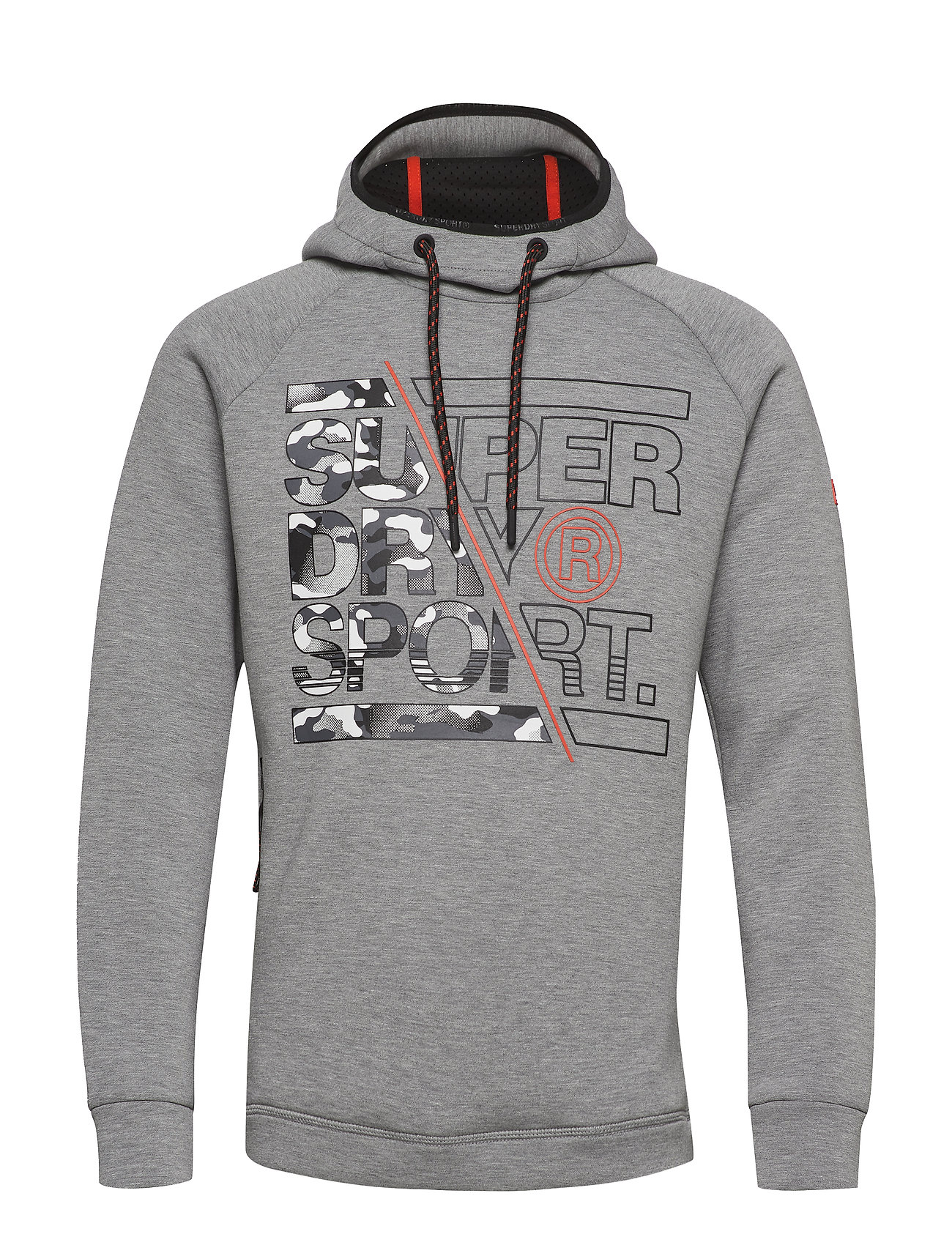 Superdry Sport GYM TECH STRETCH GRAPHIC OVERHEAD - MID GREY HEATHER