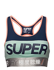 SPIN WORKOUT BRA - SPIN NVY/NEONORNG/COOLMNT/SGRY