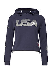 GYM TECH USA CROP HOOD - DARK NAVY