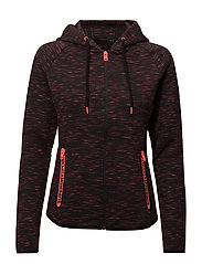 GYM TECH LUXE ZIPHOOD - BLACK/HOT CORAL