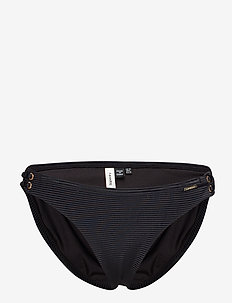 ALICE TEXTURED CUPPED BIKINI BOTTOM - BLACK