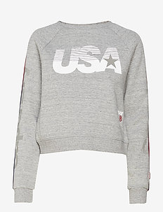 GYM TECH USA CROP CREW - GREY GRIT