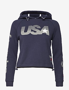 GYM TECH USA CROP HOOD - huvtröjor - dark navy