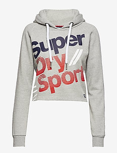DIAGONAL SPEED SPORT HOOD - crop tops - grey grit