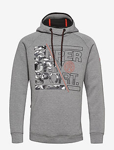 GYM TECH STRETCH GRAPHIC OVERHEAD - MID GREY HEATHER