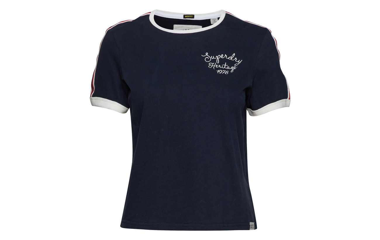 Heritage Superdry 100 White Embroidery Équipement Boxy Tee Coton Ringer Winter 77xrdwqf