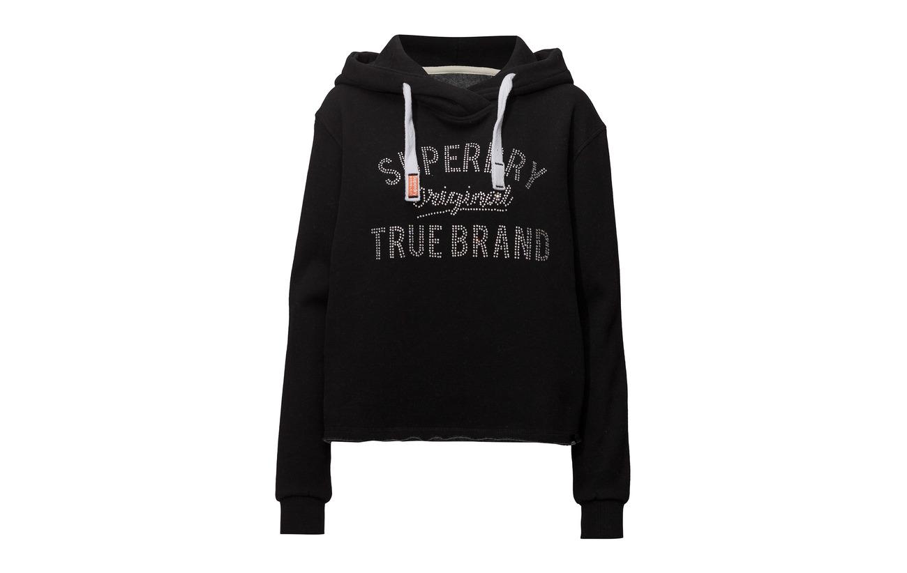 14 Équipement True Black Hood Crop Brand 86 Polyester Rhinestone Coton Superdry YaFqwCxzg