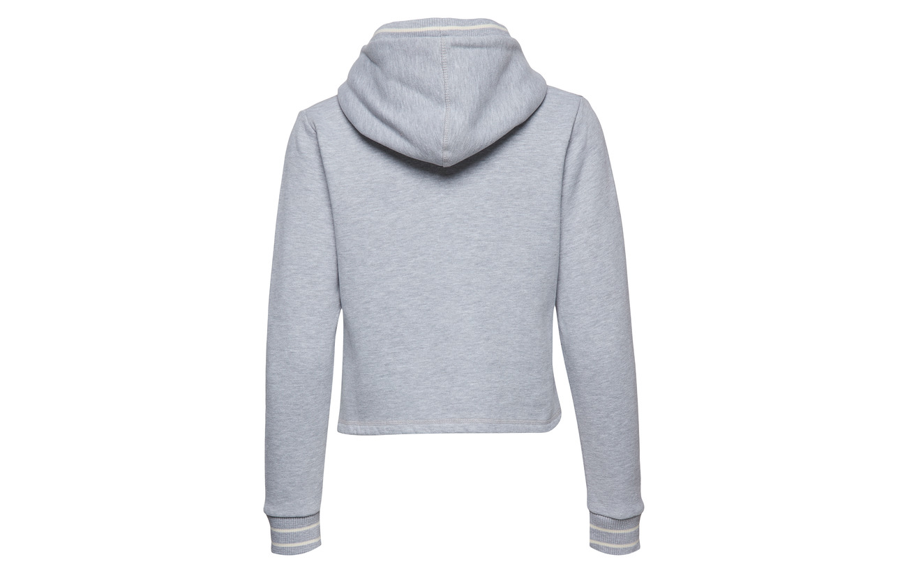 Hoodie Playoff Centre Coton Grey 55 45 Polyester Équipement Superdry Marl Crop Back EqUwWt6d