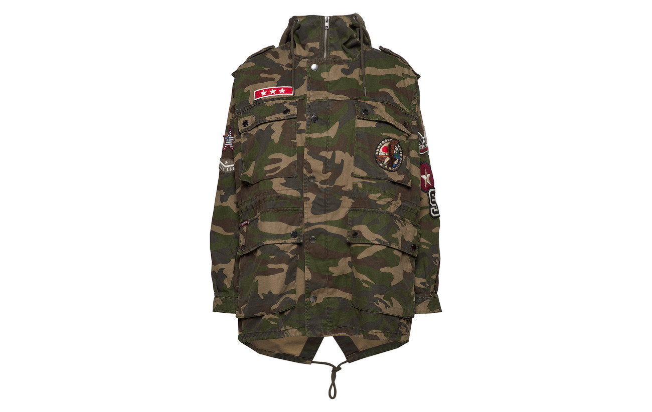 Polyester Équipement Patched 72 Coton 28 Oversized Camo Parka Superdry Rookie qAx7zgza