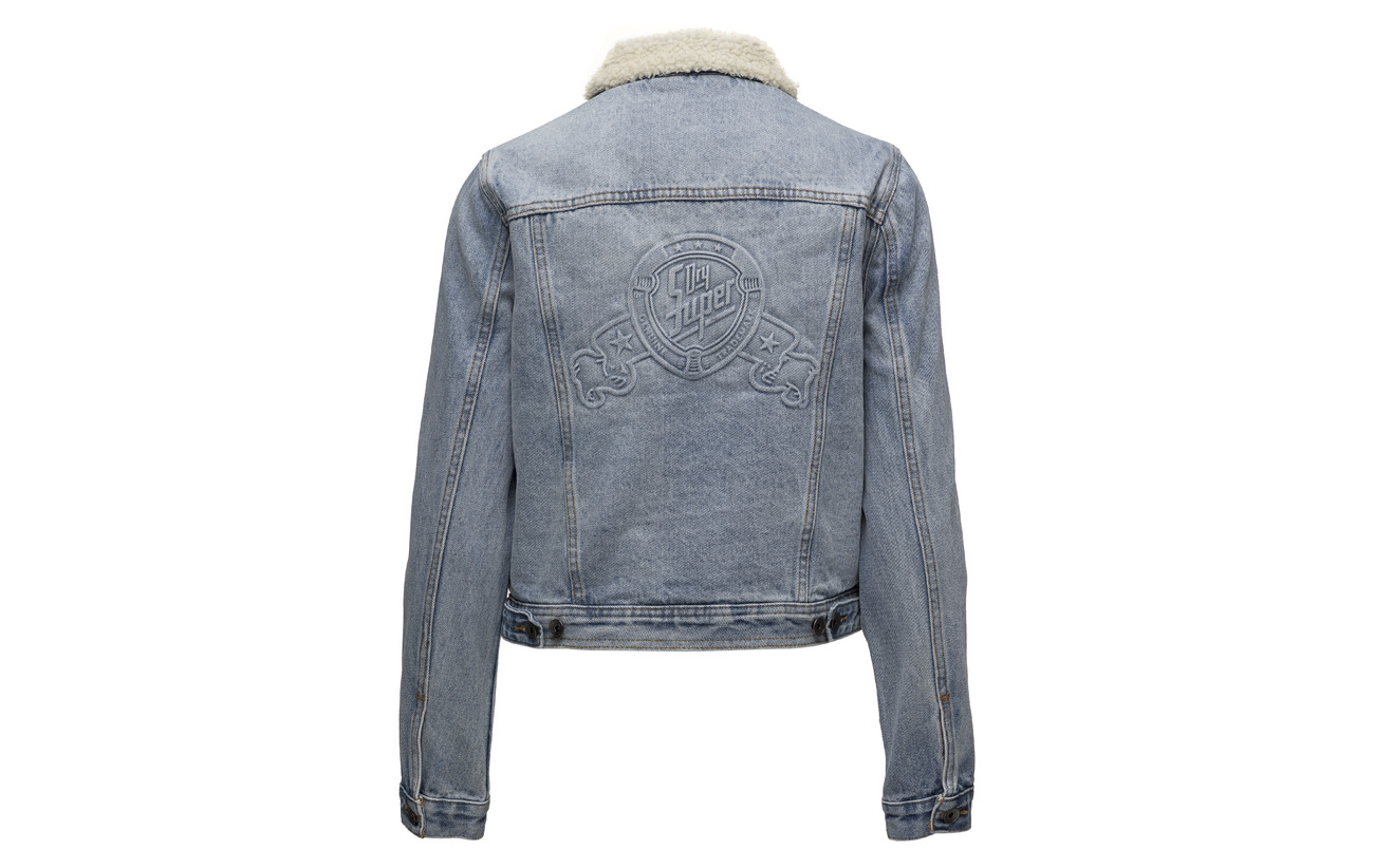 Jacket Girlfriend Blue Superdry Coton Borg Super Équipement 100 wvwSE