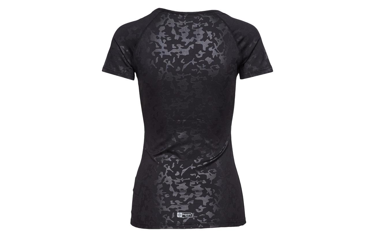 Équipement 8 Camo Elastane 92 Tee Superdry Core Black Gym Polyester ZnwgAqX