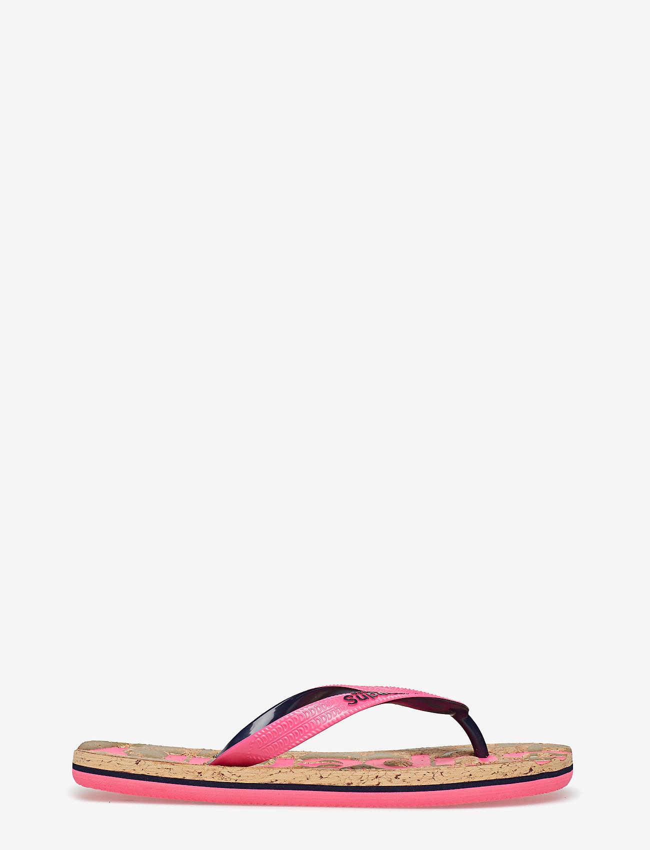 Superdry - PRINTED CORK FLIP FLOP - varvassandaalit - fluro pink/dark navy - 1