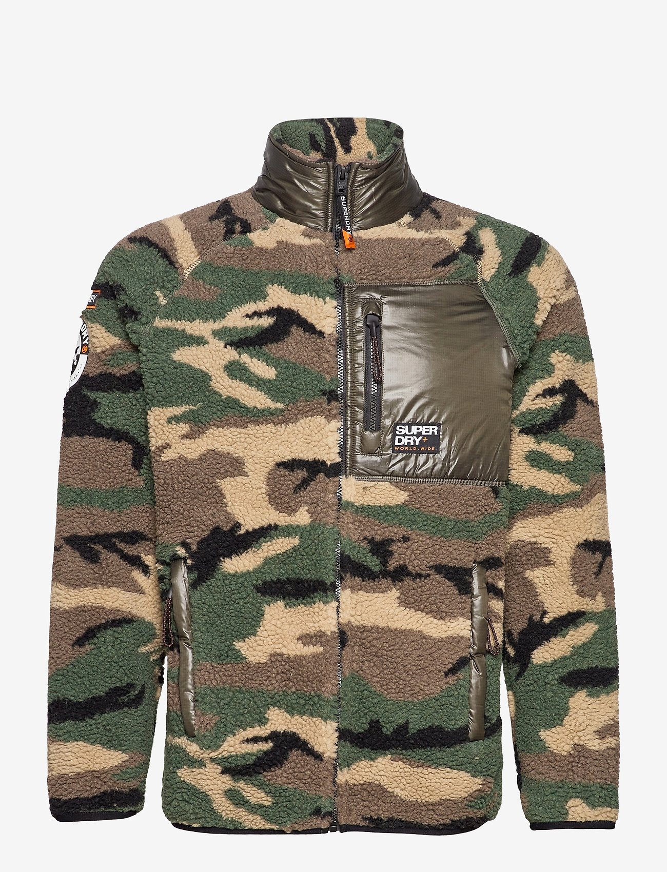 Superdry - MOUNTAIN SHERPA CAMO TRACK TOP - mid layer jackets - camo/cool olive - 0