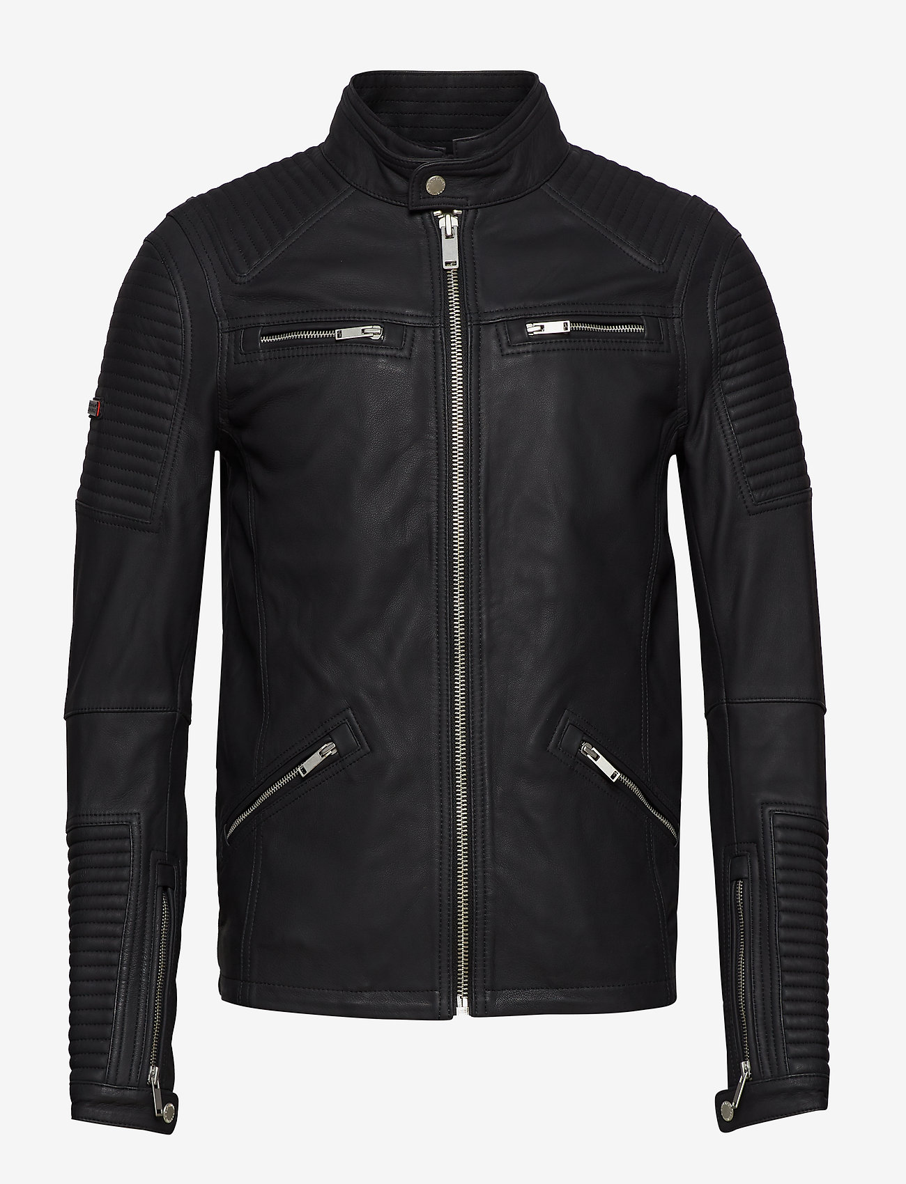 Superdry - PREMIUM LEATHER RACER JACKET - lederjacken - black - 0