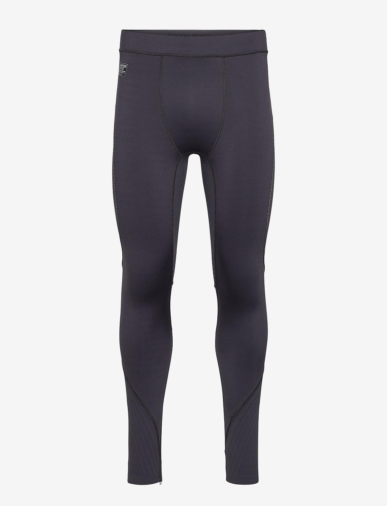 Superdry - PERFORMANCE FLOCK COMPRESSION LEGGING - spodnie treningowe - black - 0