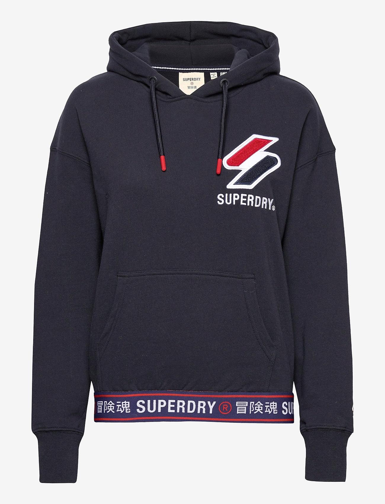 Superdry - SPORTSTYLE CHENILLE HOOD - hoodies - deep navy - 0