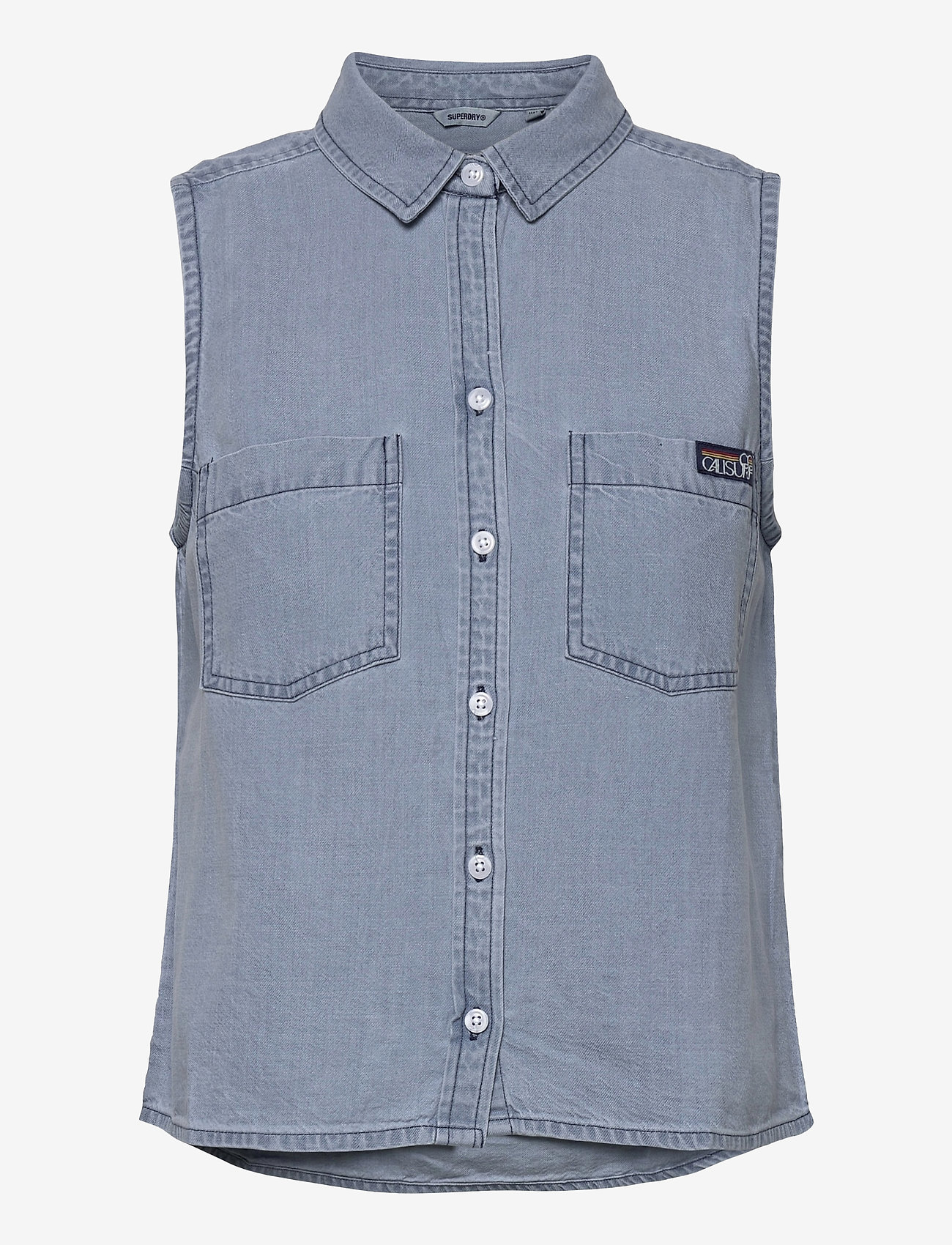 Superdry - SLEEVELESS SHIRT - sleeveless blouses - light wash - 0